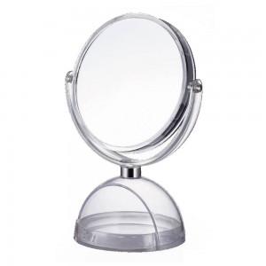 Espejo doble cara con pie transparente (19.5x13.4x27 cm).