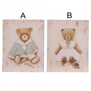 Cuadro de madera con osos (20.3x25.5x3 cm). Dos modelos