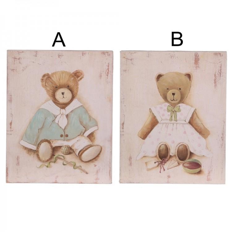 Cuadro de madera con osos (20.3x25.5x3 cm).