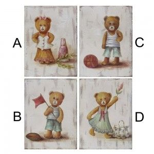 Cuadro de madera con osos (15.2x20.3x1.5 cm)