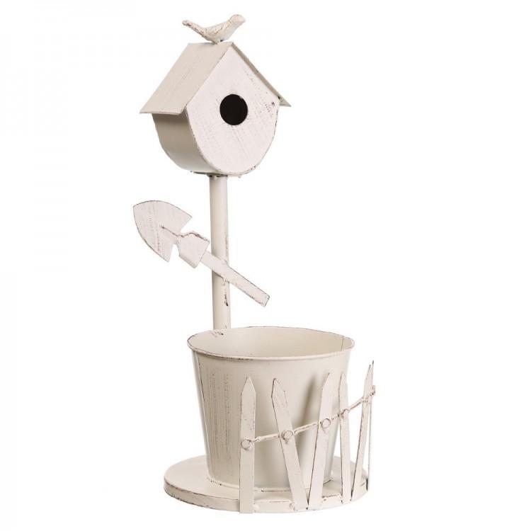 Macetero de metal con forma de nido, lacado en blanco (22x18.5x42 cm)