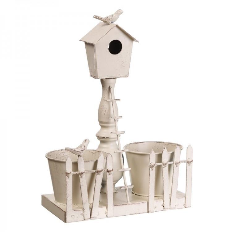 Macetero de metal con nido, lacado en blanco (27x13x37 cm)