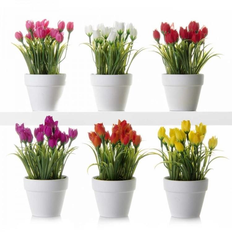 Planta Tulipanes artificiales con maceta.