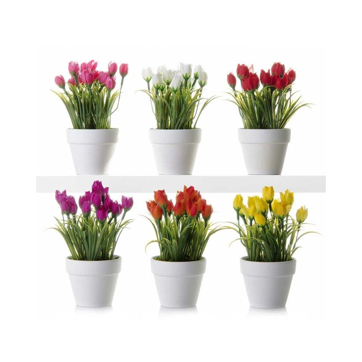 Planta Tulipanes Artificiales Con Maceta Hogar Y M S