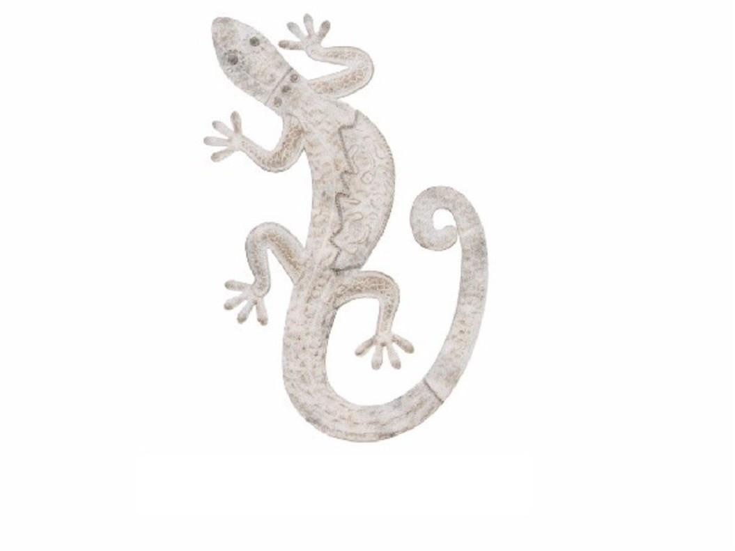 Figura lagarto de metal - Decoración de pared (57x33x3 cm). Gris