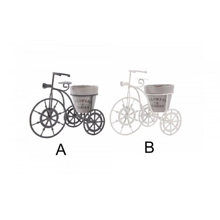 Macetero de forja con forma de bicicleta