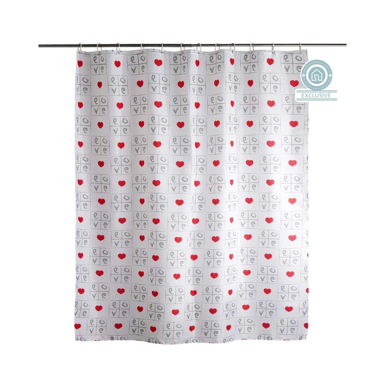 Cortina de ba o modelo love 180x200 cm hogar y m s for Argollas cortina de bano