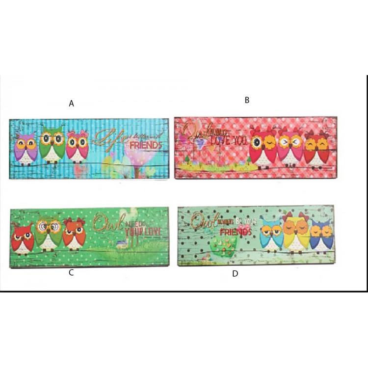 Cuadro búhos de colores (57x20x1.8 cm). Cuatro modelos
