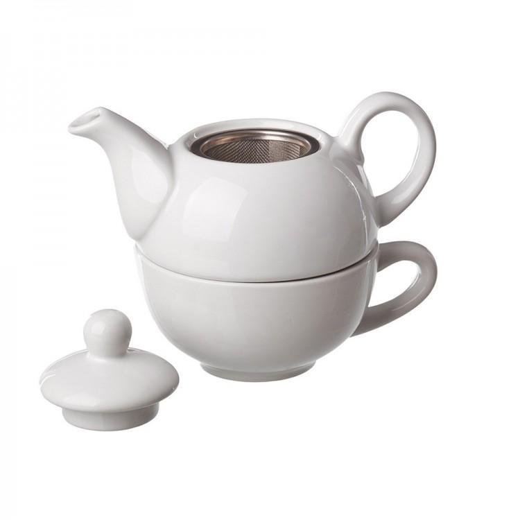 Czajnik Ceramiczny Stoneware z filiżanki, filtr ze Stali nierdzewnej, kolor biały. 18X11,30X11 cm..