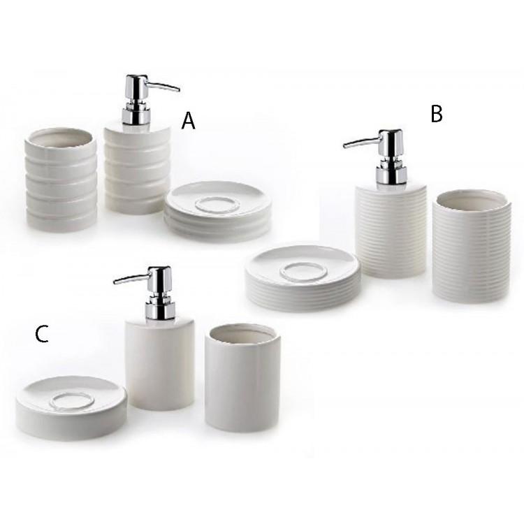 Dosificador de jabón con vaso y jabonera de cerámica blanca