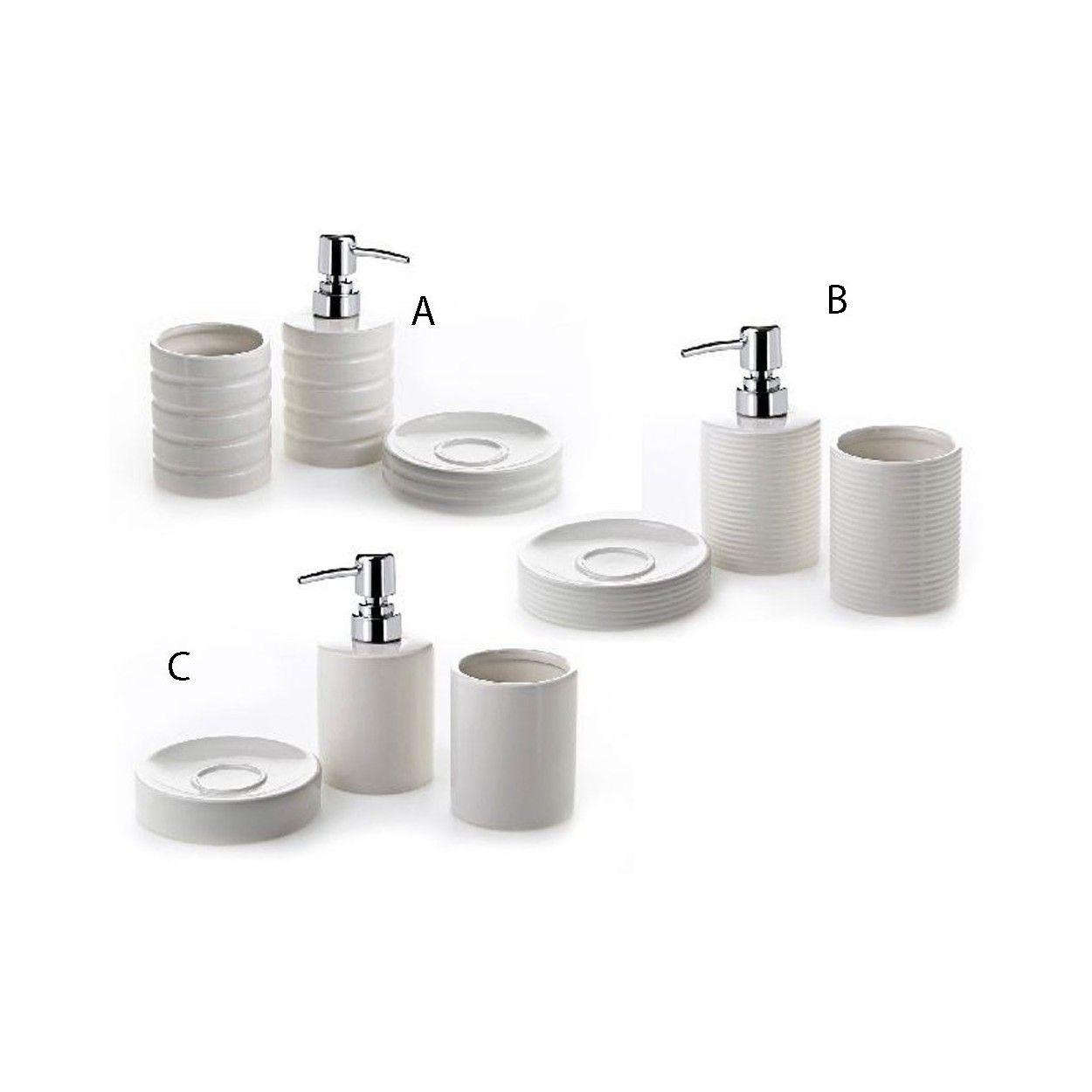 Dosificador de jab n con vaso y jabonera de cer mica for Set para bano de ceramica