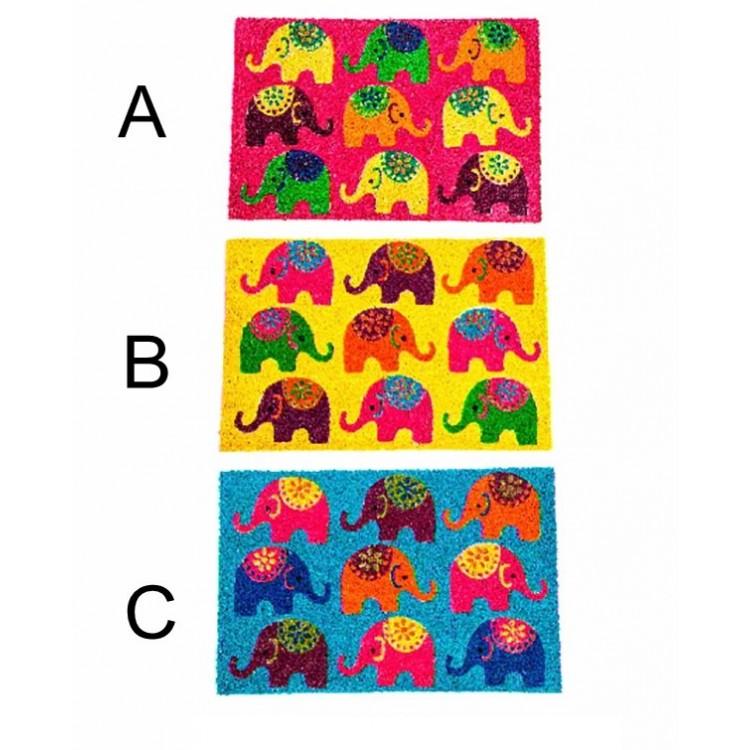 Felpudo de fibra de coco - Modelo elefantes (60x40 cm)