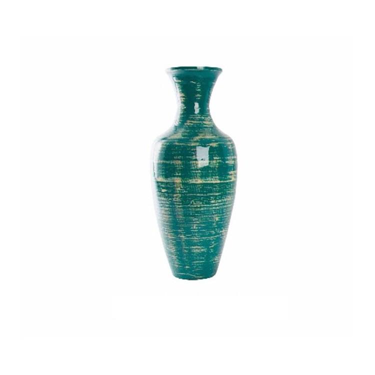 Jarrón de bambú (25x58 cm). Color azul envejecido