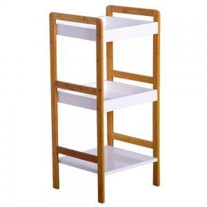 Estantería de bambú, tres niveles (