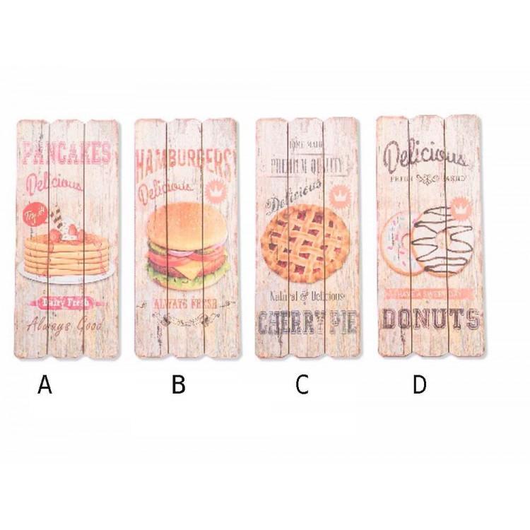 Cuadro de comidas en madera (34,5x15x2)