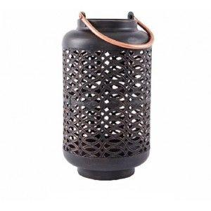 Farol portavelas en metal (17x33 cm). Color negro cobrizo