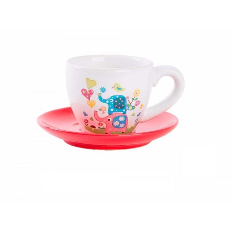 Taza con plato de cerámica decorado con elefantes