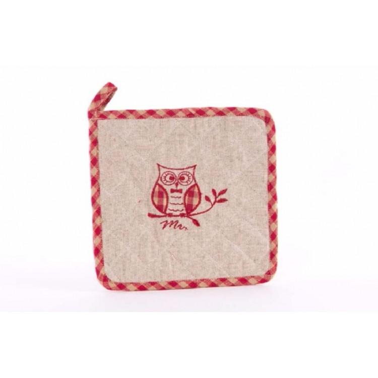 Agarrador de cocina de algodón - Modelo búho (20x20 cm)