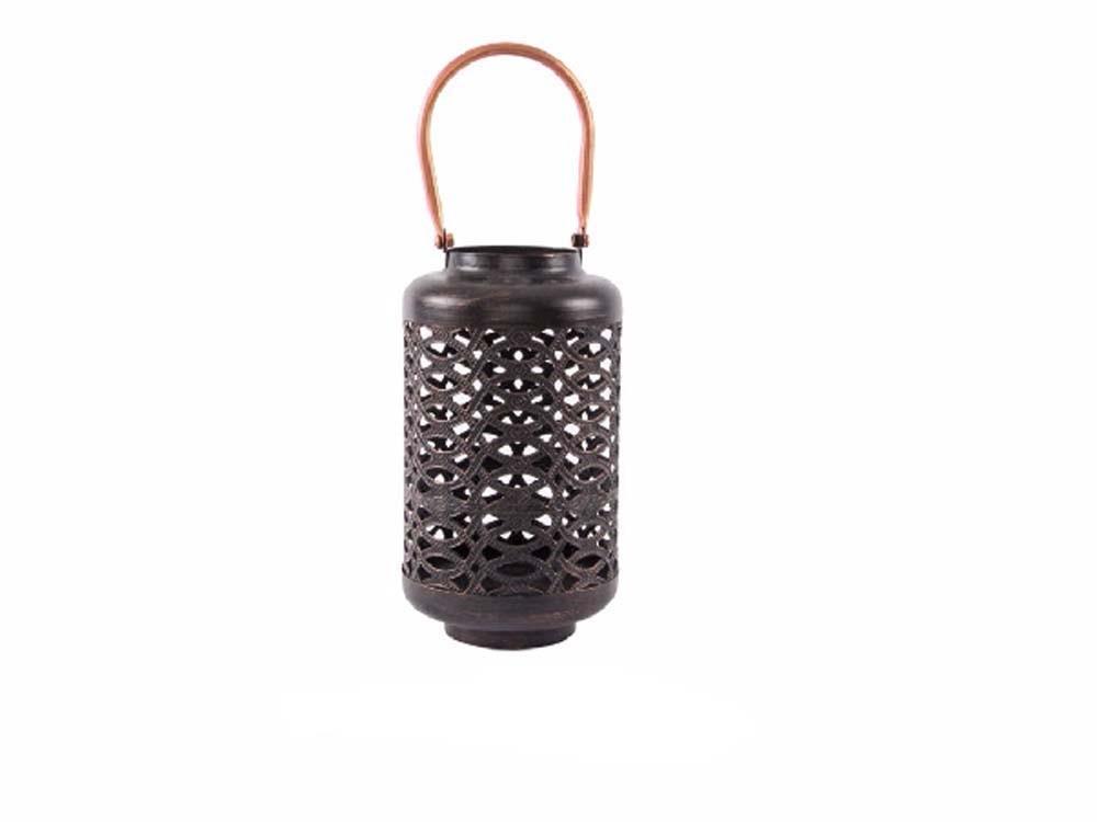 Farol portavelas en metal (13x25 cm). Color negro cobrizo