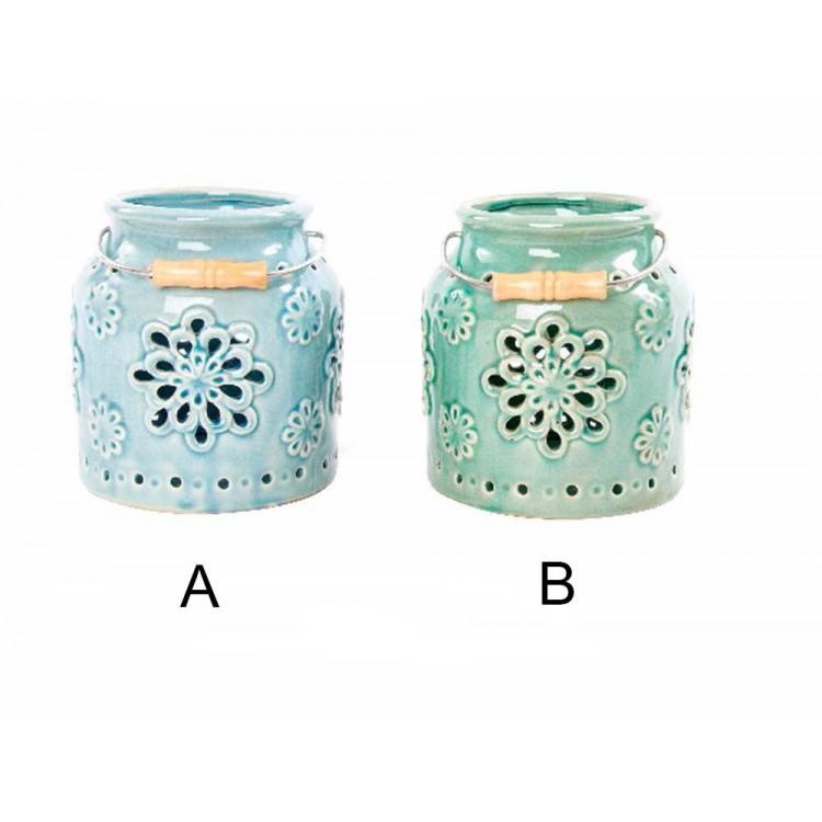 Portavelas de cerámica (15.5x17.5 cm)