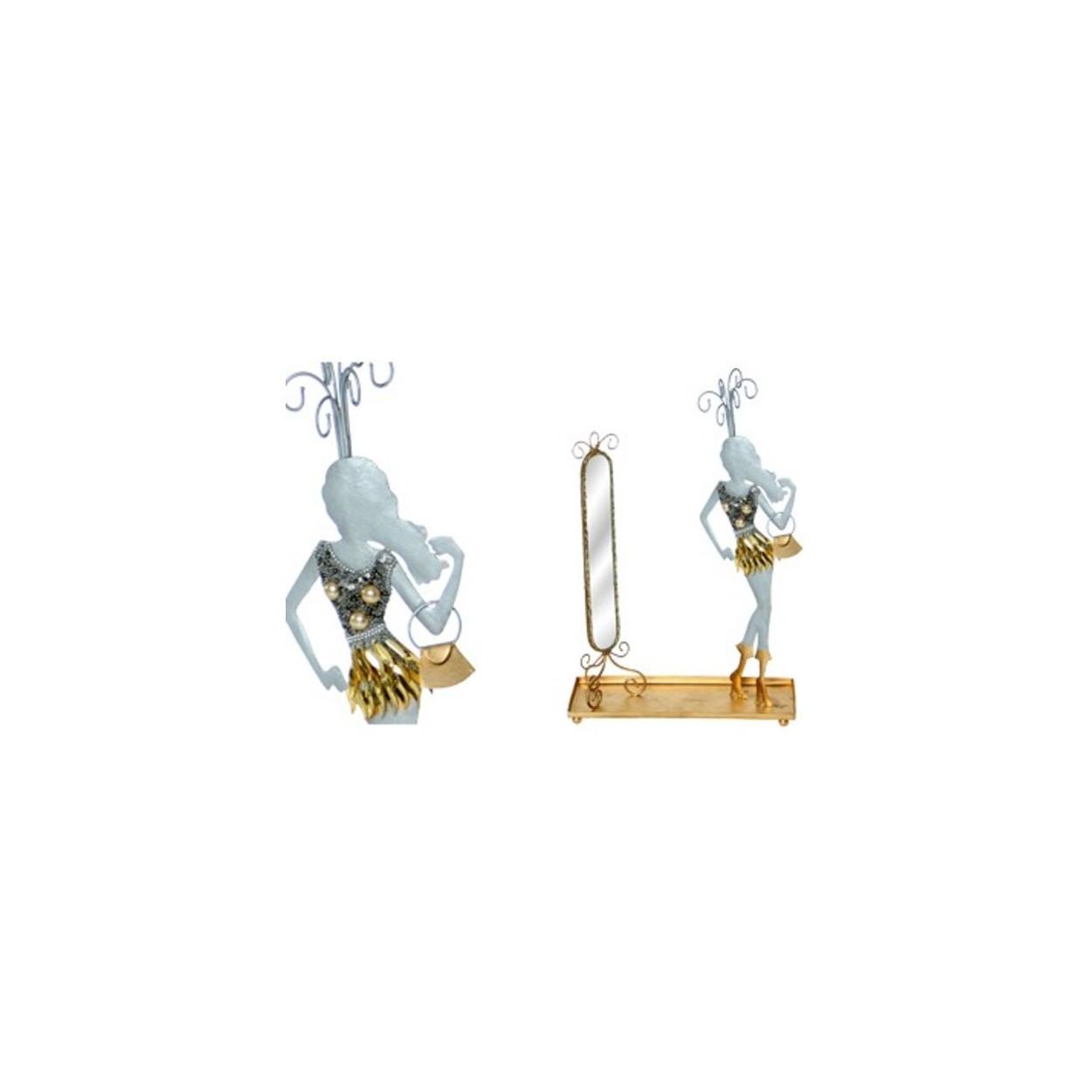 Figura cuelga joyas de metal 32x20x8 hogar y m s for Cuelga toallas bano