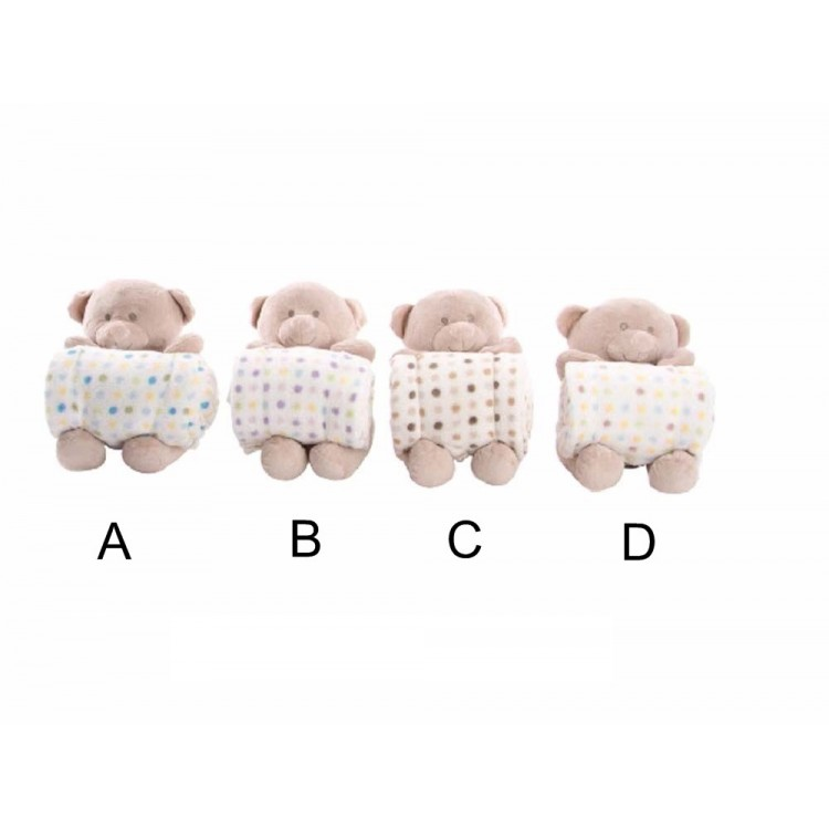 Manta infantil con peluche - Modelo oso (100x75 cm)