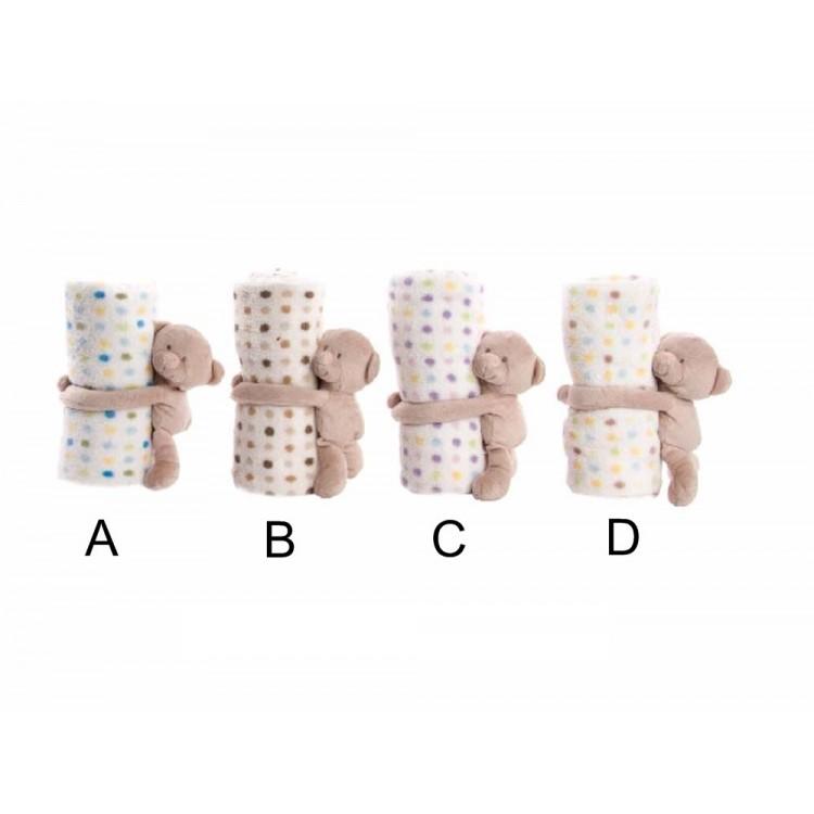 Manta infantil con peluche - Modelo osito (100x75 cm)