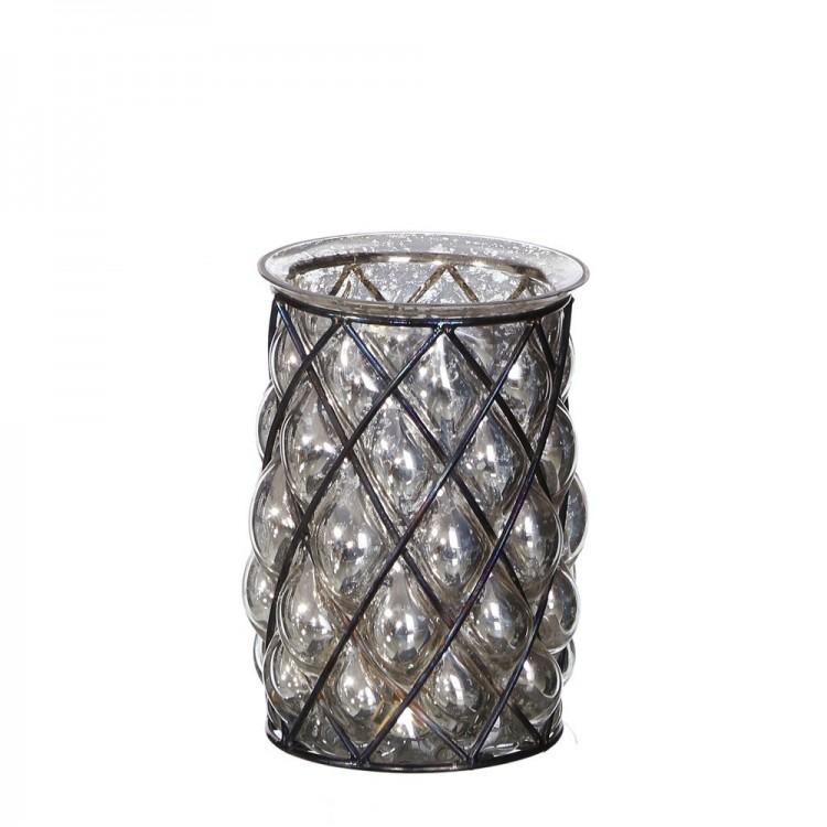 Portavelas en metal y cristal (11,25x11,25x15)