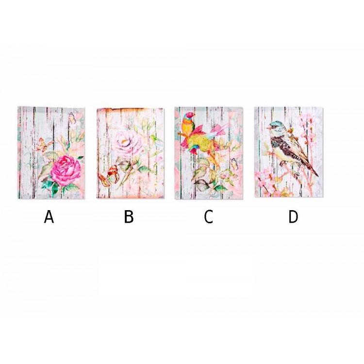 Cuadro en lienzo modelo flores o pájaros (30x40x1,8)