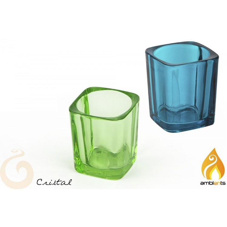 Portavelas de cristal (5x5x6 cm)