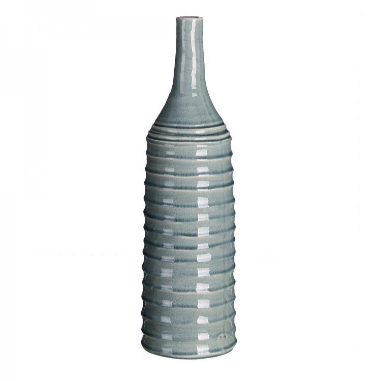 Jarrón estriado de cerámica  (13,50x13,50x49)