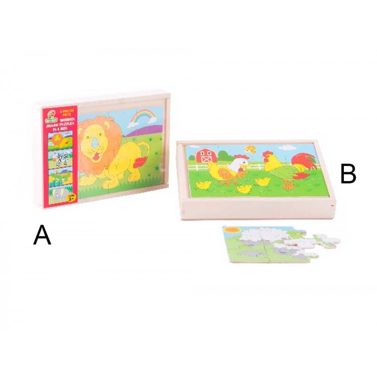 Puzzle infantil de madera - Modelo animales (20x14x3 cm)