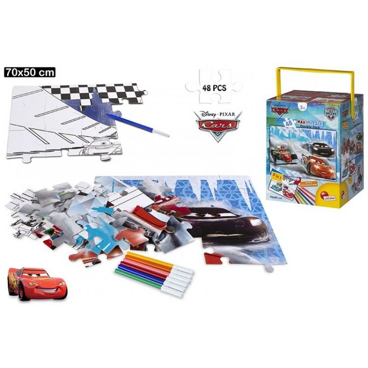"""Puzzle de doble cara coloreable - """"Cars""""  48 piezas"""
