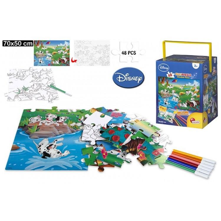 Puzzle de doble cara coloreable - 101 Dálmatas . 48 piezas