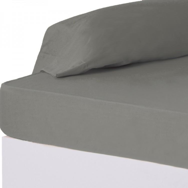 Sábana bajera gris cama 90 cm