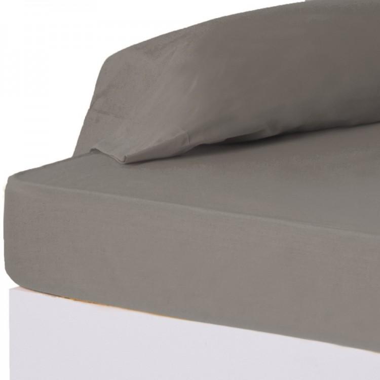 Sábana bajera gris cama 135 cm