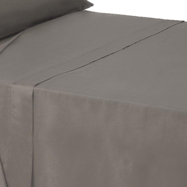 Sábana encimera gris cama 135 cm
