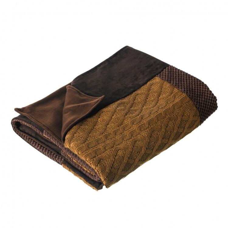 Manta sofá modelo owls patchwork marrón (170x130)