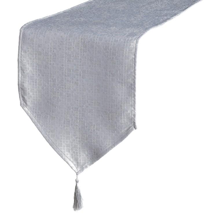 Camino de mesa con borlas - Color gris (135x35 cm)