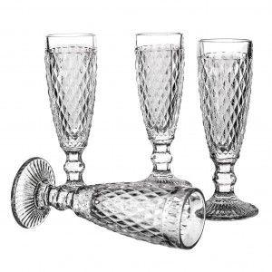Set de 4 copas flute modelo diamond