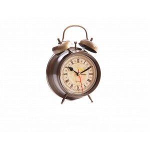Alarm clock in metal (11.8x5.7x17 cm). Golden Color
