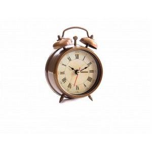 Reloj despertador de metal (8.3x4x11.8 cm). Color dorado