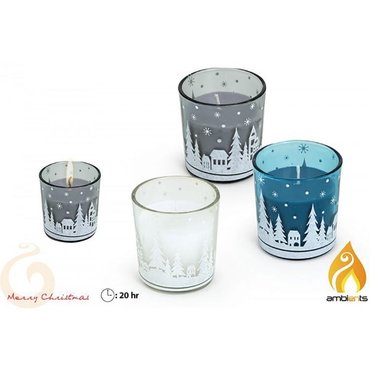 Vela navideña en vaso de cristal