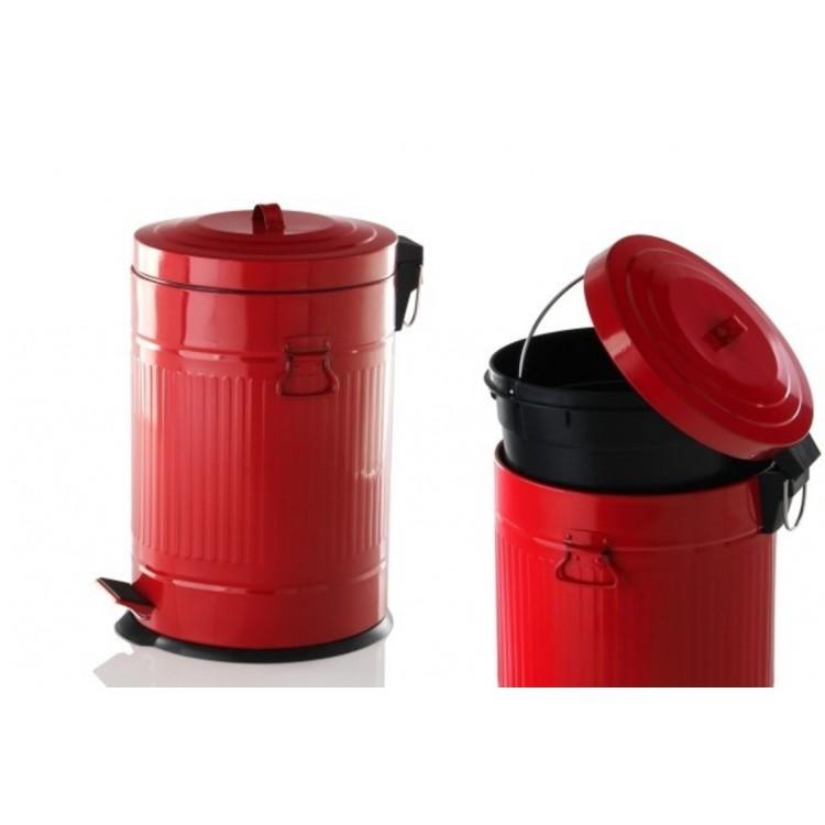 Papelera retro de acero galvanizado lacado en rojo