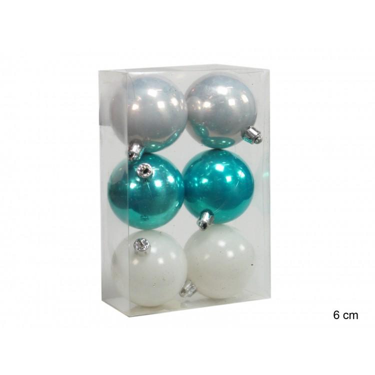 Bola decorativa de Navidad perlada (plata, turquesa y blanca)