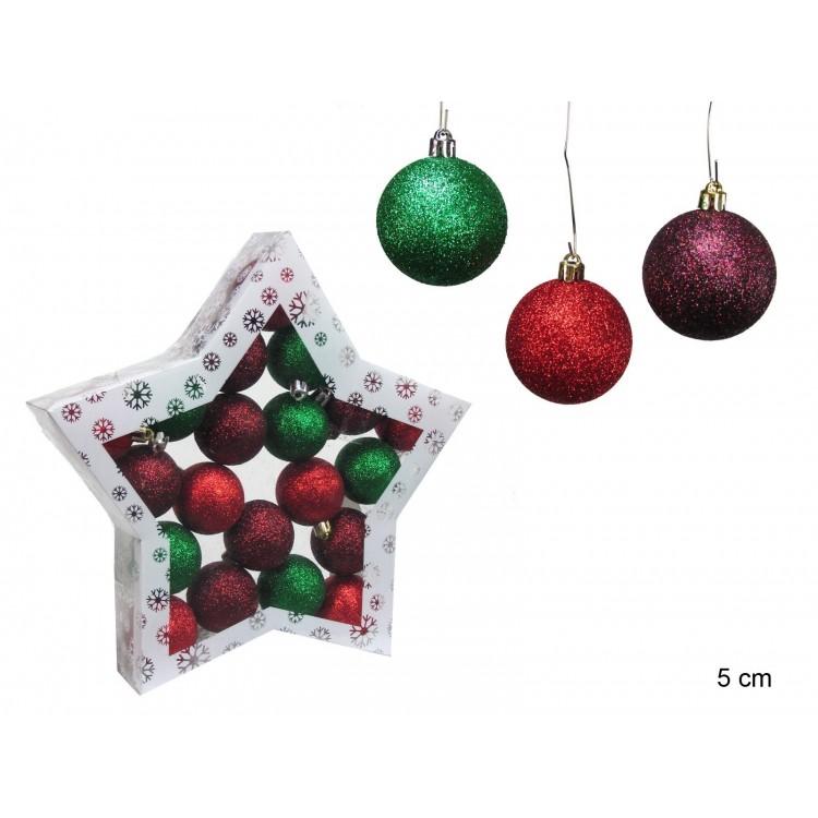 Bola decorativa de Navidad con purpurina y diferentes colores