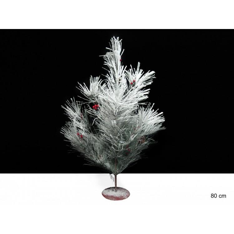 Arbol blanco de navidad con bolas (80 cm.)