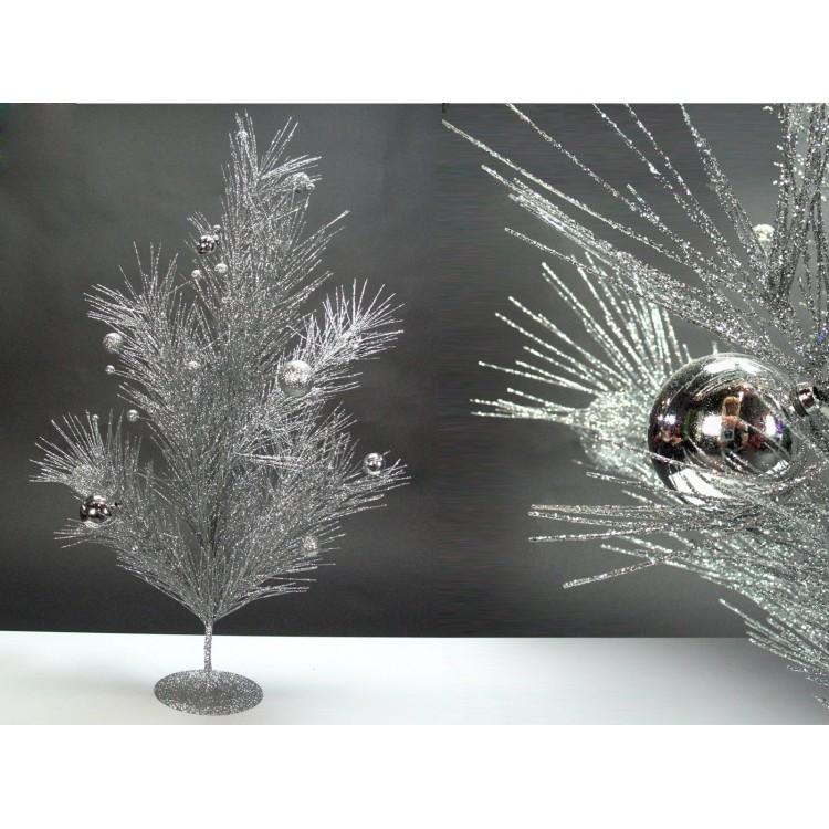 Arbol plateado de navidad con bolas (80 cm.)