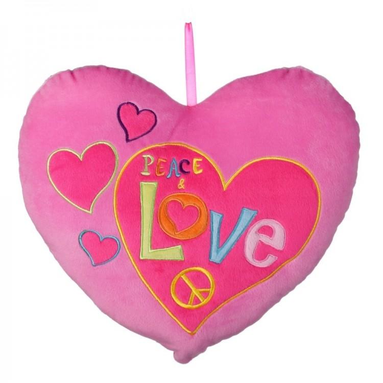 Cojín forma de corazón rosa (35x9x35)