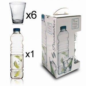 Set Vita - Botella de cristal con 6 vasos